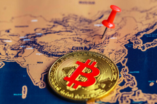 Bitcoin,On,China,Part,Of,World,Map.,Regulations,Of,Cryptocurrency