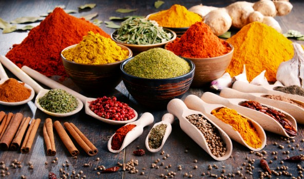 Variety,Of,Spices,And,Herbs,On,Kitchen,Table.