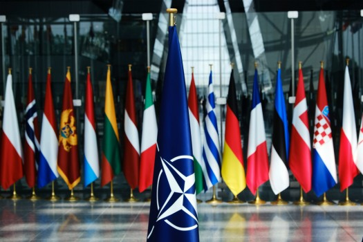 Flags',Of,Members,Of,Nato,At,The,Nato,Headquarters,In