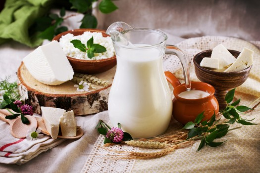 Rustic,Dairy,Products,Still,Life,With,Birch,And,Clover