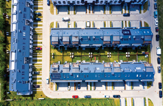 Aerial,View,Of,Residential,Houses,Neighborhood,And,Apartment,Building,Complex