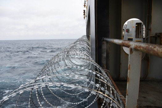 Barbed,Wire,Attached,To,The,Ship,Hull,,Superstructure,And,Railings