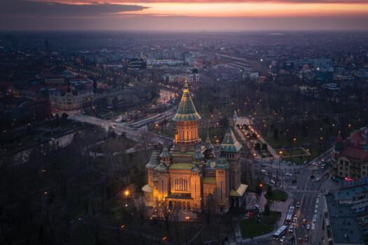 Aerial,Night,View,Of,Timisoara,,Romania.,Cityscape,Of,Timisoara,At