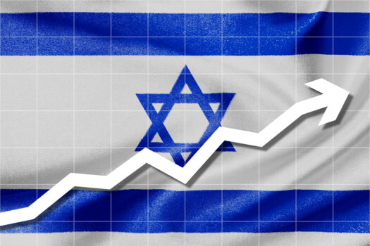 White,Arrow,Up,On,The,Flag,Of,Israel,As,Background