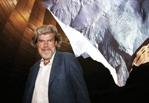 Oberhausen, Germany. 18th Sep, 2019. South Tyrolean mountaineer Reinhold Messner stands in front of an upside-down sculpture of the Matterhorn in the Gasometer. He is of the opinion that renunciation must become something positive again. Credit: Roland We