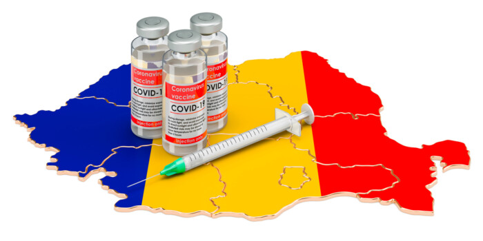 Vaccine,And,Syringe,With,Romanian,Map.,Vaccination,In,Romania,Concept,