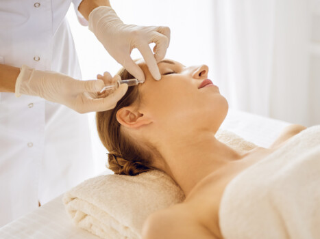 Beautiful,Woman,Receiving,Beauty,Injections,With,Closed,Eyes.,Beautician,Doctor