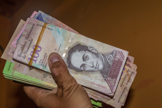 Stack,Of,Venezuelan,Currency,(bolivar,Fuerte),Is,Hold,In,The