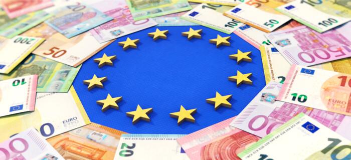 3d,Illustration,,European,Union,And,Money