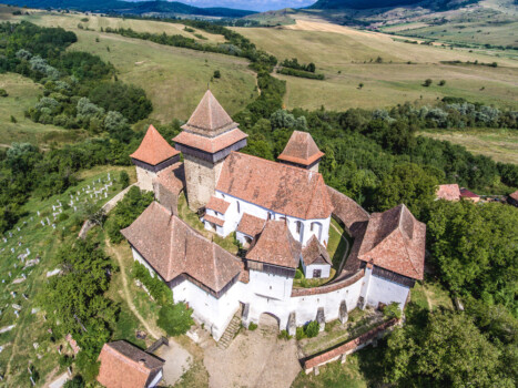 Viscri,Fortified,Chruch,In,The,Middle,Of,Transylvania,,Romania.,Aerial