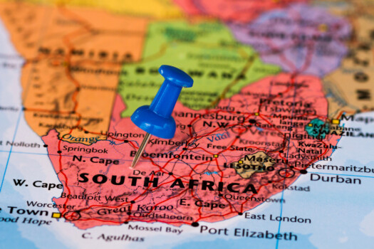Map,Of,South,Africa,With,A,Blue,Pushpin,Stuck