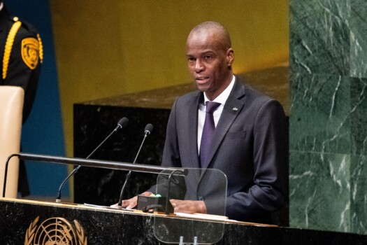 Jovenel Moise, president of Haiti seen speaking at the United Nations General Assembly General Debate at the United Nations in New York City.