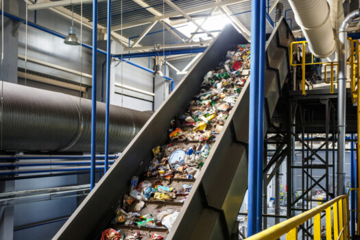 Moving,Conveyor,Transporter,On,Modern,Waste,Recycling,Processing,Plant.,Separate