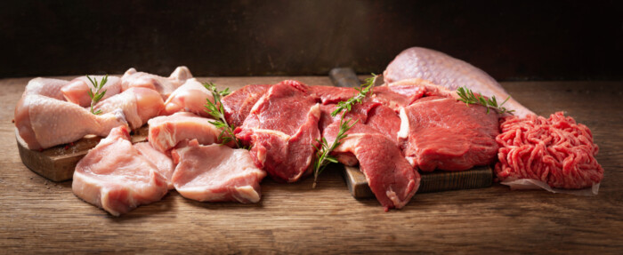 Various,Types,Of,Fresh,Meat:,Pork,,Beef,,Turkey,And,Chicken