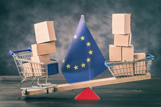 Shopping,Basket,And,Cart,With,Boxes,On,Seesaw,And,Eu