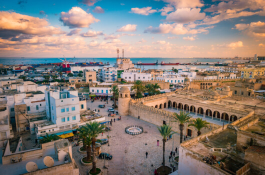 Beautiful,Sunset,In,Sousse,,Tunisia.,Cityscape,With,The,View,On