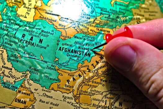 Kabul,,Afghanistan,Globe,Map,Atlas,Geography,Landmark,With,Caucasian,Person's