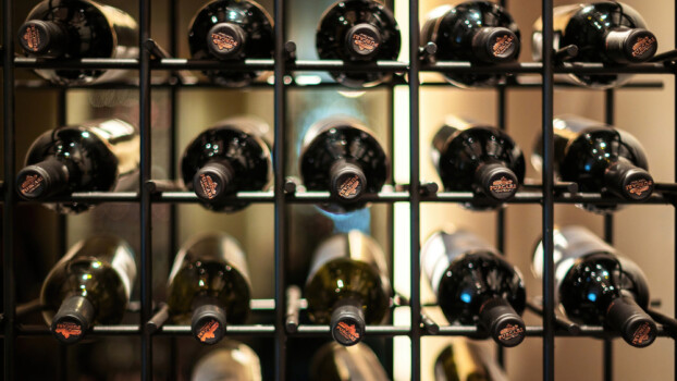 Purcari,,Moldova,-,April,4,,2021:,Racks,With,Bottles,Of