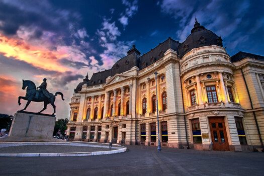 Bucharest,At,Sunset.,Calea,Victoriei,,National,Library