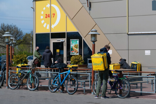 Kyiv,,Ukraine,,April,20,,2020:,Glovo,Bicycle,Couriers,Wait,For