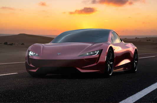 Lanzarote,spain-may,2019:2020,Tesla,Roadster,On,The,Road,In,The,Canary