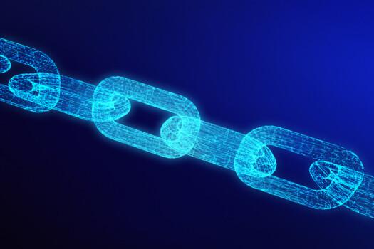 Blockchain digital illuminated shape.  data node base concept. 3d render illustration